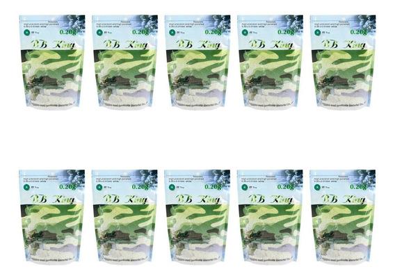 Kit 10 Sacos De Bbs Airsoft Munição Plástica Bb King 0.20g