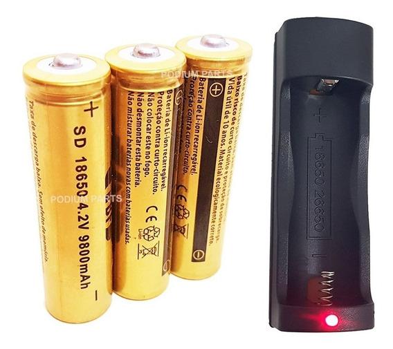 Kit Carregador +3 Baterias 18650 4,2v 9800mah Lanterna Led