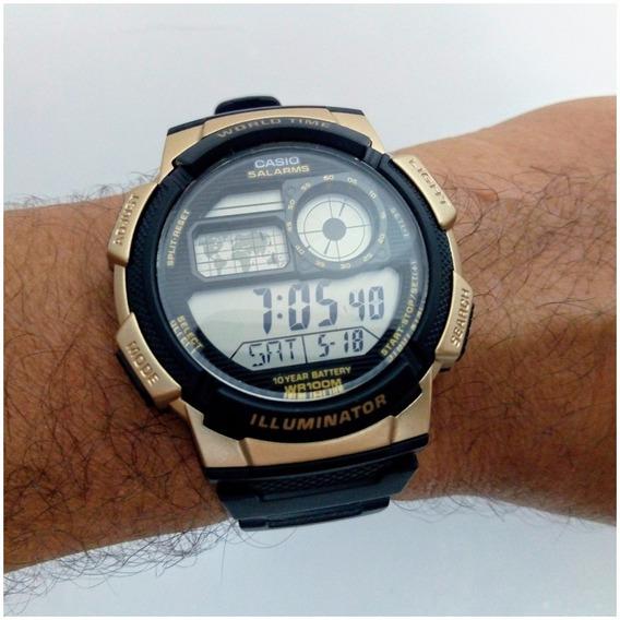 Relógio Casio Ae1000w Word Time Original, Prova Dágua
