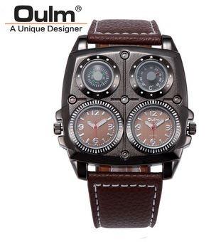 Reloj Hombre,acero Inox,correa Cuero,termómetro,brújula,
