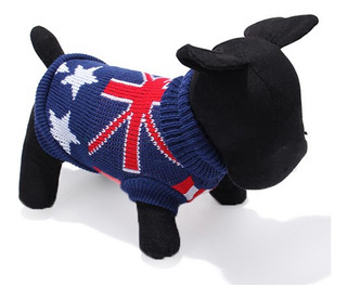 Azul Oscuro Bandera Del Reino Unido Mascota Perro Suéter De