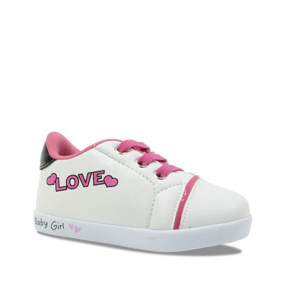 Tênis Casual Pampili Infantil Menina Love Branco 108085