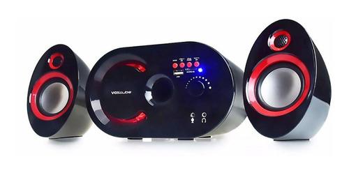 Caixa De Som 2.1 Multimídia 18w Bluetooth Preta E Vermelha