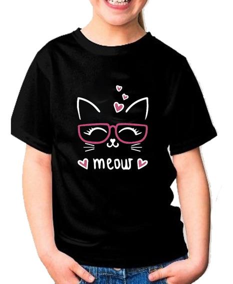 Playera Gato Meow Con Glitter Para Niña