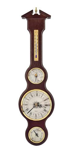 Imagem 1 de 5 de Estação Meteorológica Com Relógio Em Madeira Nobre