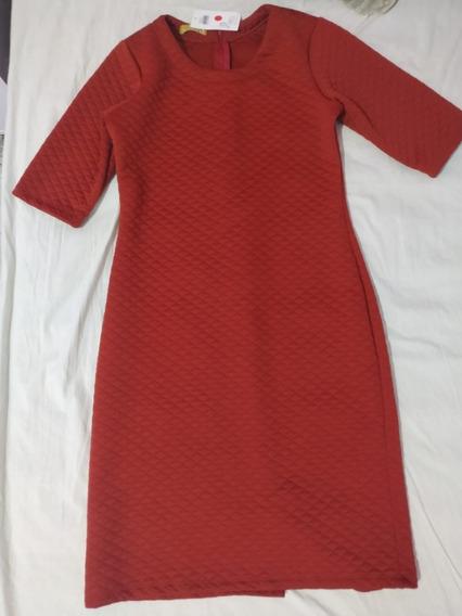 Vestido Tubinho Jacquard Ferrugem