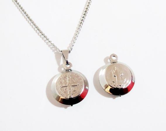 Colar Cordão Medalha De São Bento Aço Inox