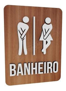 Plaquinha Banheiro Unissex Bonequinhos Shopping Hotel Bar