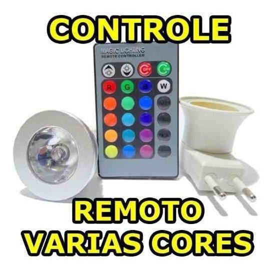 Lâmpada Colorida Controle Remoto Adaptador Tomada