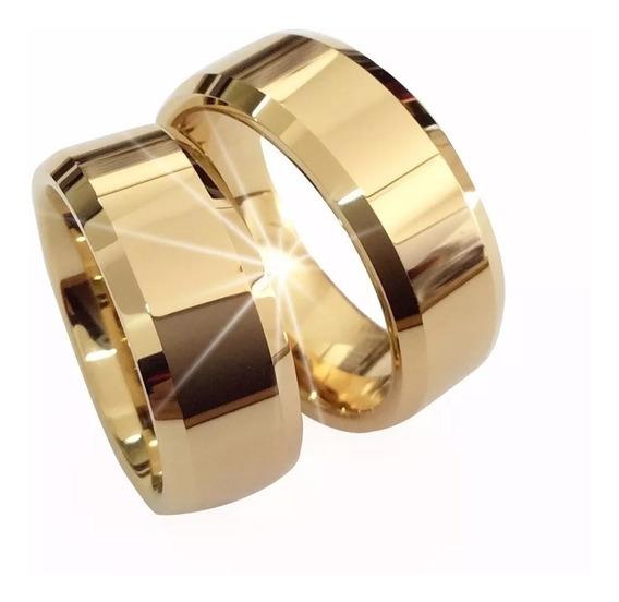 Anéis De Noivado Casamento Tungstênio 8mm Folheada A Ouro