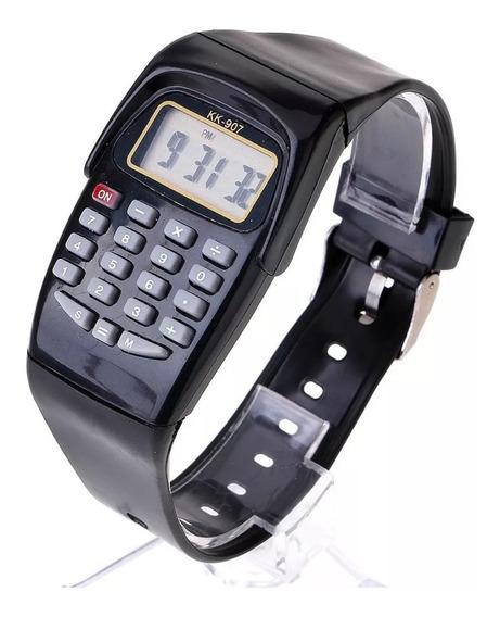 Relógio Calculadora Várias Cores Pulseira Silicone Oferta