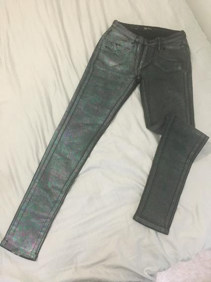 Calça Jeans Preta Efeito Óleo Legging Levis 36