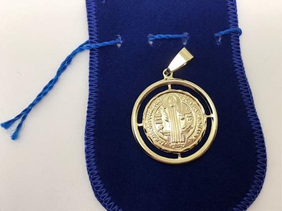 Medalhão Santo São Bento Banhado A Ouro 18 K