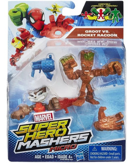 Marvel Super Hero Mashers Micro Groot Vs Rocket Hasbro