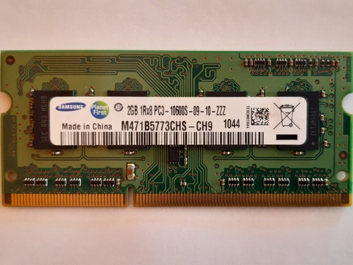 Memoria Ram Notebook Ddr3 2gb 10600s 1333mhz Samsung Mac