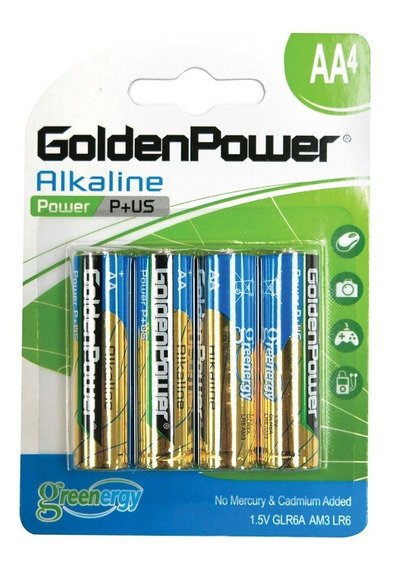 Cartela 4 Pilhas Golden Power Aa Glr6a Am3 Lr6