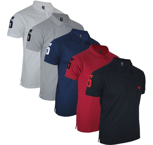 Kit Camisa Polo Masculina Clássica Bordado