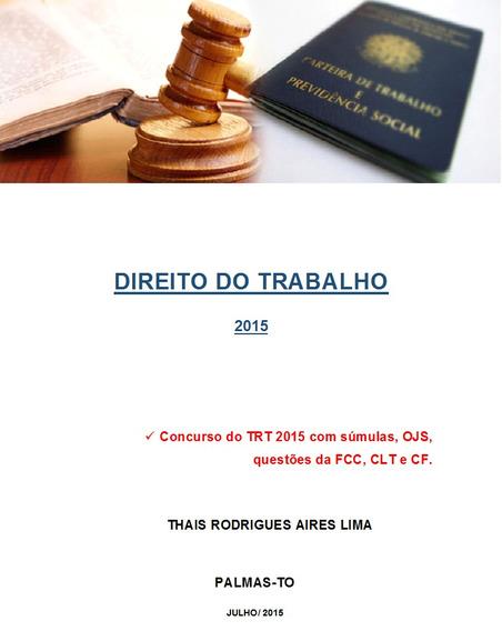 Apostila De Direito Do Trabalho Para Concursos Públicos.