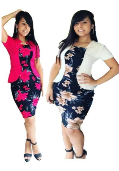 Kit Com 2 Vestidos Modelo Estampado Roupas Femininas