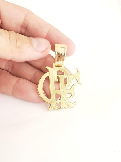 Pingente Crf Flamengo Banhado A Ouro 18k Para Cordão