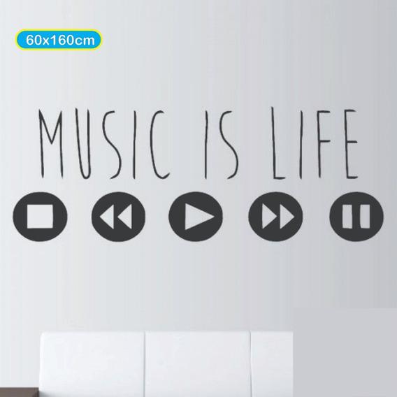 Vinilo Decorativo Para Pared - Musica - Music Is Life