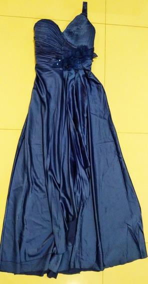 Vestido De Fiesta Noche Largo De Raso Azul Francia
