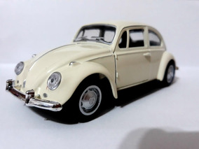 Fusca Branco Miniatura De Ferro 13cm P/ Colecionador