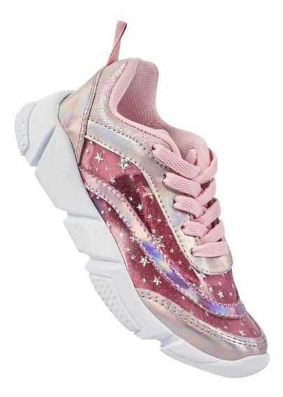 Zapato Tenis Niña Con Agujetas Glitter Estrellas Color Rosa