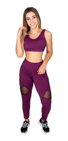 Legging Feminina + Top Fitness Academia Conjunto Fit Liso