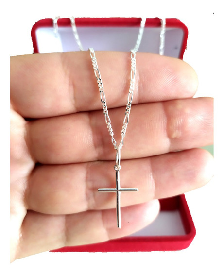 Corrente Cordão De Prata Masculina 925 60cm Fina + Crucifixo