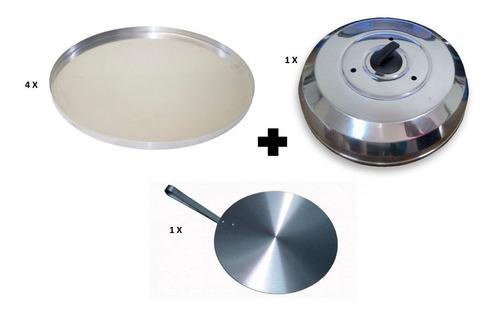 Imagem 1 de 7 de 4 Forma Para Pizza 35cm + Abafador 40cm + Pá Pronta Entrega