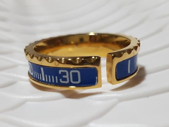 Anel Speedometer Dourado Com Azul (medida Interna 2cm)