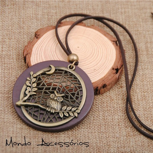 Colar Feminino Coruja Rústica Em Madeira Maxi Colar Bronze