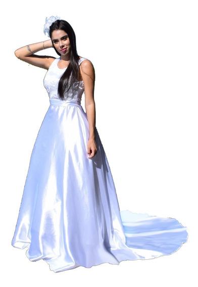 Vestido De Noiva Lindo Com Peito Forrado Com Renda Importada