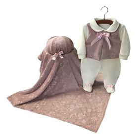 Saída Maternidade Menina Rosa Oncinha Com Manta - 3 Peças