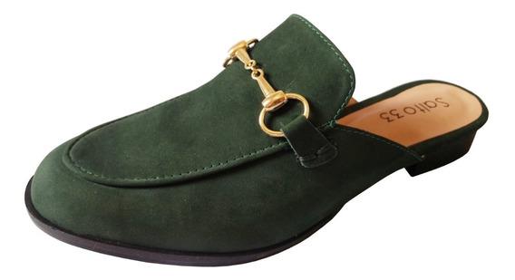 Salto 33 - Mule Estilo Gucci Em Couro Nobuk Verde