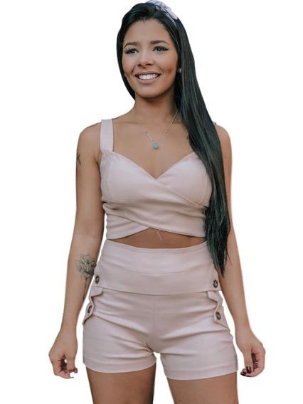 Conjunto Feminino Cropped E Short Cintura Alta. Ref: 641