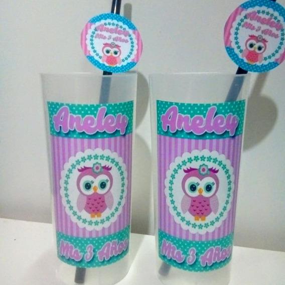 30 Vasos Trago Largo + Sorbetes Personalizados Souvenirs
