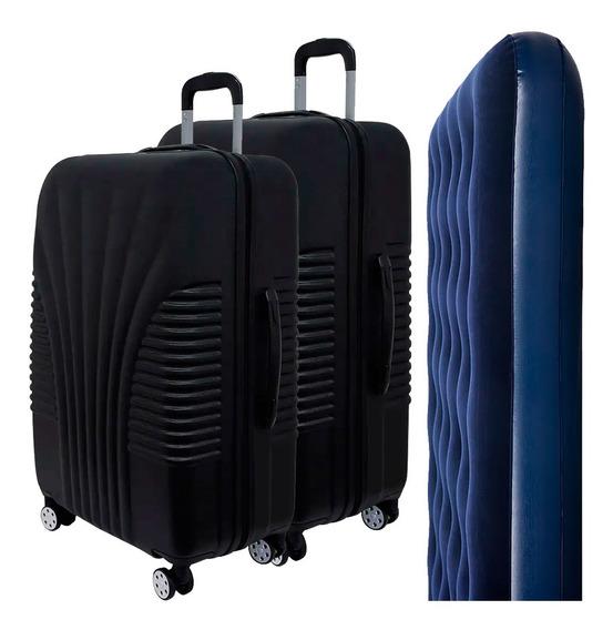 Conjunto De Malas Para Viagem Exeway Rodízios 360° 2 Peças, Preta + Colchão Inflável Sunfit Casal, Azul