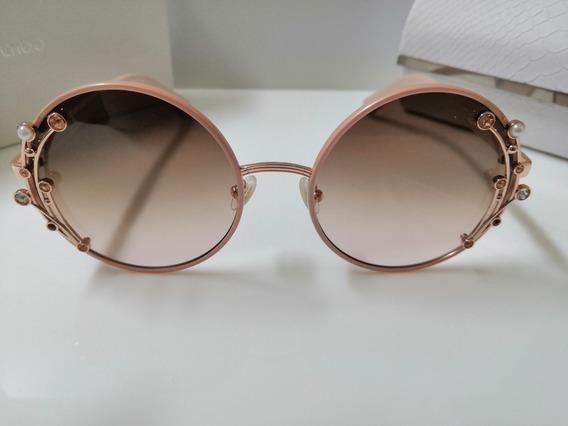 Óculos De Sol Jimmy Choo Gema/s Rosê Fwm3y Com Marrom Degradê