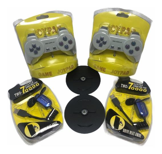 Combo Gamer Playstation 2 Joysticks Ps1 2 Bases 2 Cooler Ps2