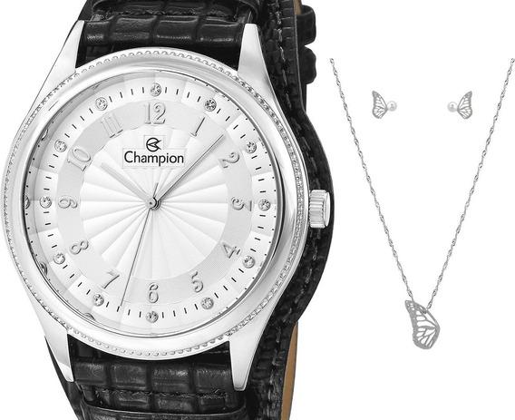 Relógio Champion Feminino Couro Cn20248c + Kit