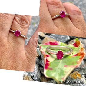 Anel De Prata 950 Com Rubi Rosa.