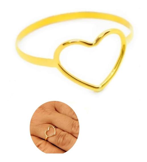 Anel Ouro 18k Coração