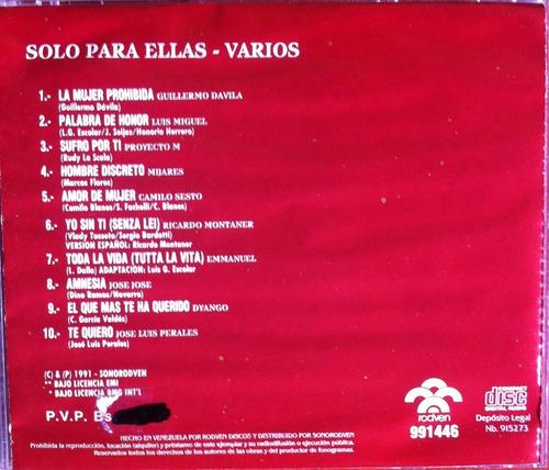 Solo Para Ellas. Guillermo Davila Luis Miguel Proyecto M Cd