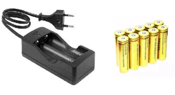 Kit Carregador Duplo C/fio + 4 Bateria 18650 8800mah 4,2v