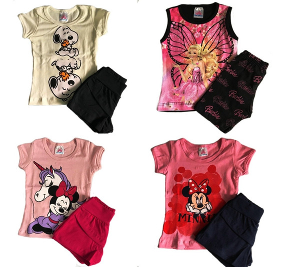 Kit Lote 5 Conjuntos Roupa Infantil Menina Camiseta Shorts