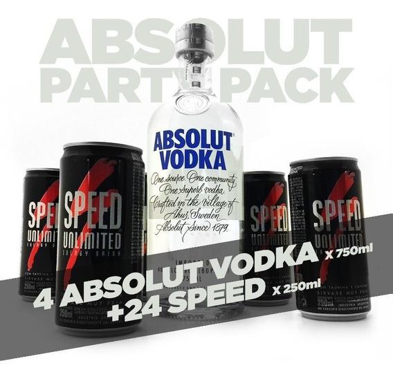 Pack 24 Latas Speed 250 + 4 Botellas Absolut Vodka De 750ml