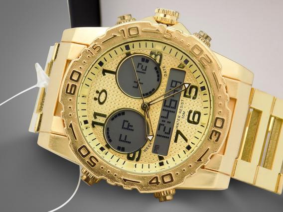 Relógio Masculino Dourado + Bonito | Original Barato + Caixa