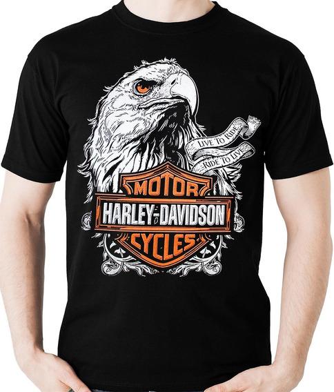 Camiseta Harley Davidson Águia Live To Ride Camisa Blusa